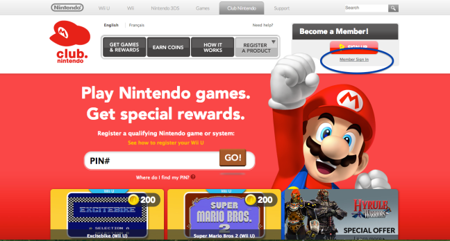 Go to https://club.nintendo.com/ and sign in