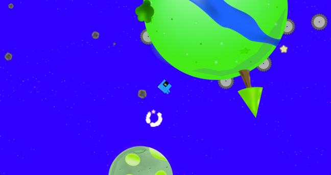 The player travels across mini planets, dodging saws and any other harmful things