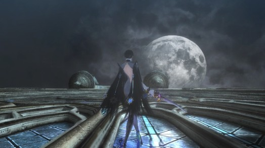 Bayonetta takes a breather from battle to have a look at the moon...while walking along the side of a building