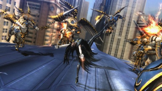 Even amidst the fighting, Bayonetta makes sure to throw in some dance moves. Fighting with style