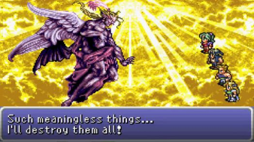 Kefka ascends into a form of godhood, just to be struck down