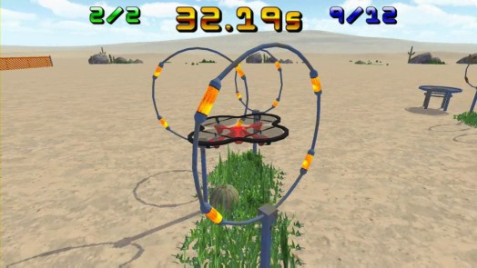 The player navigates their aircraft through rings before landing on a small platform